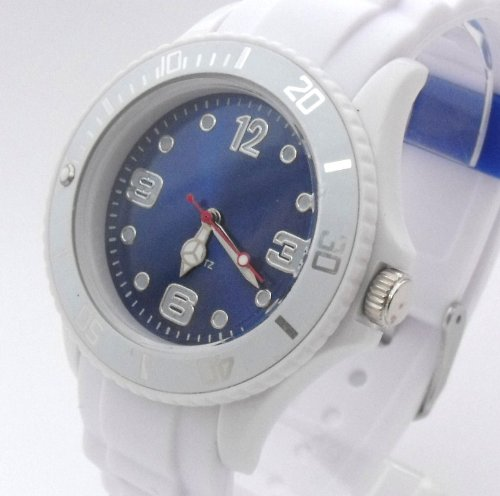 White/Blue Ladies/Girls Silicone Ice Style Watch. 38mm Dial. 16-21cm Strap. Rotating Bezel