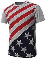 Guan's Mens Hipster Hip Hop USA American Flag All-Star Crewneck T-shirt