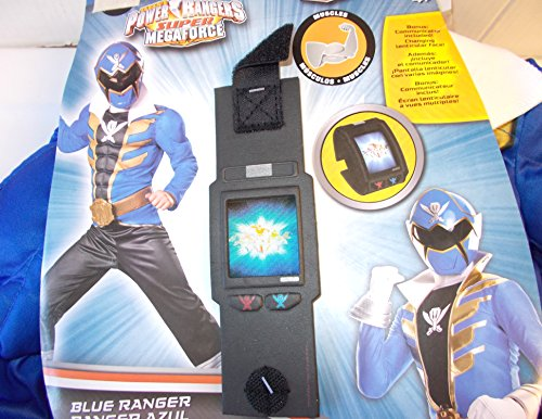 Power Rangers Super Megaforce Muscle Blue Ranger Child Costume Communicator 10-12 NIP
