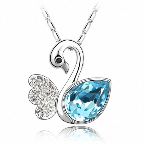 TAOTAOHAS- [ Search Name: Swan Lake ] (1PC) Crystallized Swarovski Elements Austria Crystal Pendant Necklace, 18KGP Marked, Made of Alloy Plated with 18K True Platinum / White Gold and Czech Rhinestone