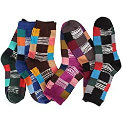 Womens 3 to 6 Pairs Fun Patterned Casual Cotton Fashion Crew Dress Socks