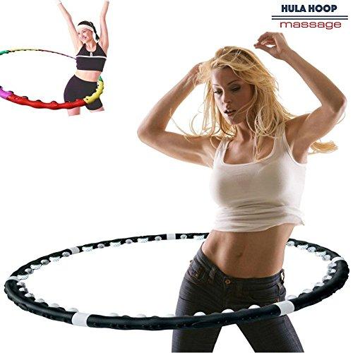 Bakaji Hula Hoop Massage Magnetic Fitness Perdi Peso in poco Tempo Hoola Dance Fit Nero