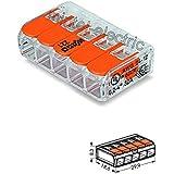 25 Stück Wago Verbindungsklemme 5 Leiter mit Betätigungshebel 0,2-4 qmm kleine Bauform transparent, 221-415