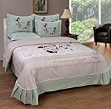 BeautifulHOMES She Cotton Double Bedsheet With 2 Pillow Cover - Beige and Light Green