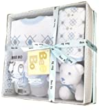 BabyPrem Baby Shower Gift Box Set 0 - 3 Months - Bodysuit, Socks, Bib and Toy - Blue