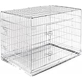 "SmithBuilt - Folding Silver Dog Crate w/ Metal Tray Pan - Double Door - 36"" Length"