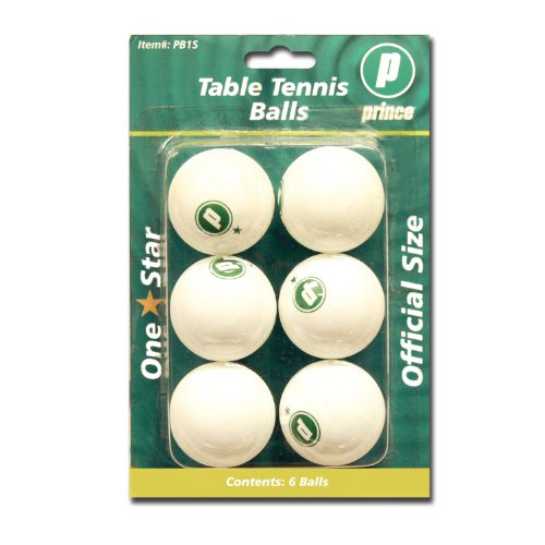 prince 1 star table tennis balls white 6 pack sporting