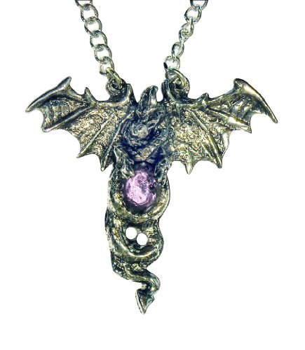 Mystical Gothic Entwined Dragon with Purple Cabochon Pewter Pendant Necklace Fashion Jewelry