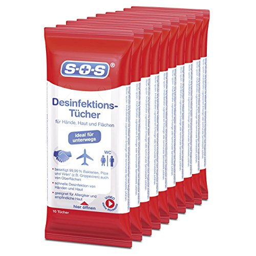 SOS Desinfektionstücher (10 x 10 Tücher)- zur Desinfektion von Händen, Haut und Flächen