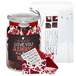 KindNotes LOVE Keepsake Gift Jar of Messages for Him or Her Birthday, Anniversary, Long Distance Relationship - Heart Garden Loving You Always