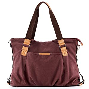 YSYT (TM) New Women's bag Canvas+Leather Shoulder Bag Messenger Bag School Bag women Totes bag Portable Ipad laptop bag #313 --Purple from E-Trade Deal