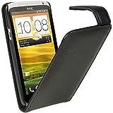 igadgitz Schwarz Leder Tasche Schutzhülle Hülle Etui case für HTC One X S720e & HTC One X+ Plus Android Smartphone Handy + Display Schutzfolie