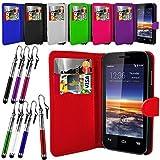 Case In Your Face® Vodafone Smart 4 Mini Premium PU Leather Flip Case Cover Pouch - Various Colours (Black)