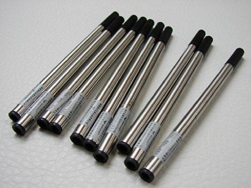 Baoer-Noir-Lot de 10 recharges pour stylo bille 0,5 mm Pointe de Type poussoir