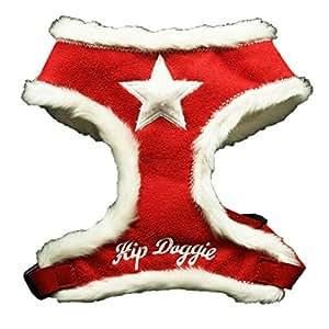 Hip Doggie Red Fur Star Harness Vest, Small