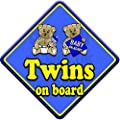 TED TWINS BOYS non personalised novelty baby on board car sign by Just The Occasion