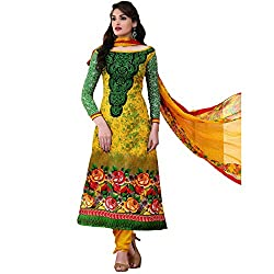 Rozdeal Women Georgette Salwar Suit Dress Material (Rda104-2004 _Yellow _Free Size)