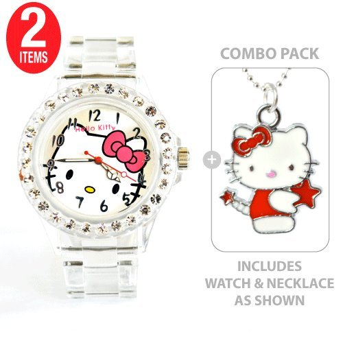 Hello Kitty Sports Quartz Wrist Watch Translucent White with Diamond Colored Rhinestone Bezel with Hello Kitty with Red Star Charm Necklace    COMBO PACK