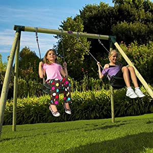 Plum Marmoset Wooden Pole Swing Set