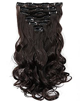 S-noilite 24 Inches Long Curly Full Head Clip in Synthetic Hair Extensions 8pcs 170g