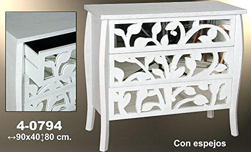 DonRegaloWeb - Cómoda con 3 cajones de madera de fresno y espejos en color blanco decape