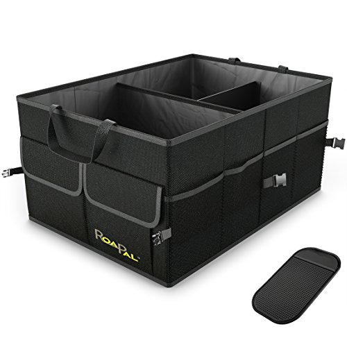 Premium Quality Auto Trunk Organizer by RoadPal For Car, SUV, Truck - Durable Collapsible Cargo Storage - Non Slip Bottom Strips to Prevent Sliding w/ Bonus Foldable WATERPROOF COVER (NEW Version) (Tool Box For Car compare prices)