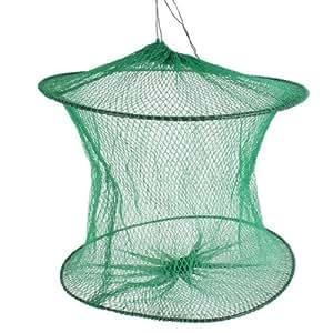 Plastic Ring Green Foldable Mesh Nylon Angling Fishing Cage
