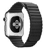 Apple Watch Bracelet,Sundaree Magnétique Loop En Cuir Véritable iwatch Bande Bracelet Remplacement Strap Band pour Apple Watch 38mm(Loop Leather Black 38)