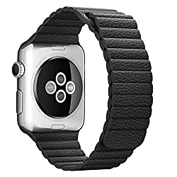 ProElite 38 mm Leather Loop Strap with Magnetic Lock Buckle Wrist Band for Apple Watch - Black