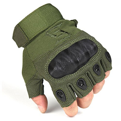 FREE SOLDIER Outdoor Men Military Hard Knuckle Half Finger Glove Tactical Armor Gloves (Army Green Large)