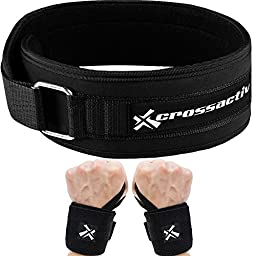 Crossactiv Liftsystem 4-inch Ultra Low Profile Performance Slimline Black Weightlifting Lifting Belt PLUS 1 Pair of 18\