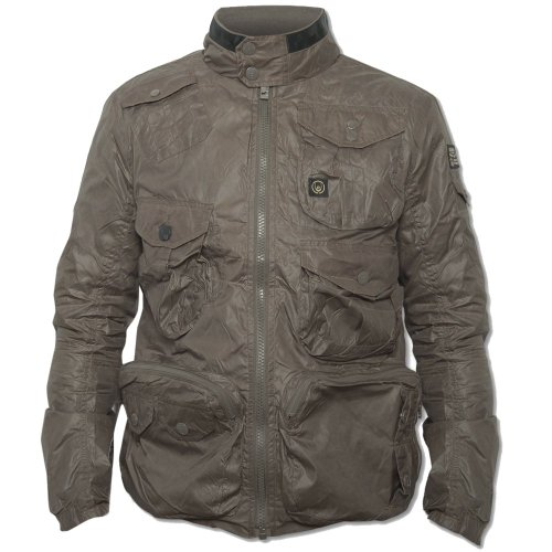 Duck And Cover Mens Brown Buster Long Sleeve High Collared Zip Front Jacket Taupe Medium