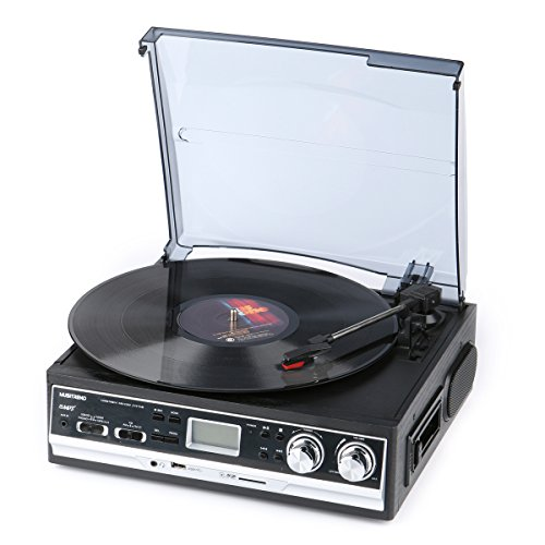 Vinyl-Record-Player-Musitrend-Belt-Drive-3-Speed-Turntable-with-LCD-Display-Supports-USBSD-encoding-to-MP3-Cassette-AMFM-radio-Aux-in-and-RCA-Output-Headphone-Jack