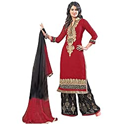 Shayona Women's Georgette Semi Stitched Dress Material_SSE9028SRK_Red_Free Size
