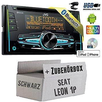 Seat Leon 1P 2DIN schwarz - JVC KW-R920BT - 2DIN USB Bluetooth Autoradio - Einbauset