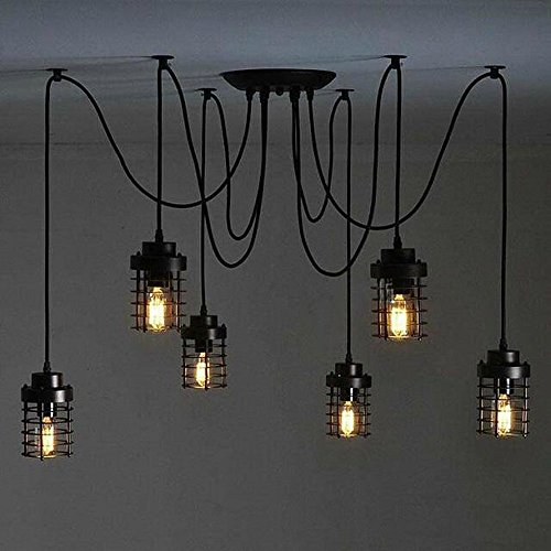 Kiven 6 cages American Retro Industry Chandeliers Restaurant Vintage Pendant Lights Art Bar cafe Lighting (Swag Kit Ceiling Fan compare prices)