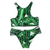 Cupshe Fashion Women's Tropical Leaves Printing Tank Padding Bikini Set, Green (M)