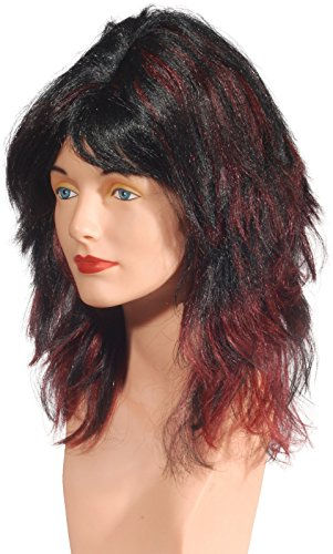 Star Power Burgundy Highlighted Shag Wig Black Burgundy One Size (Adult)