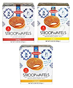 Daelman's Stroopwafels Variety Pack of 3 Caramel Maple Honey (10.94 Ounce)