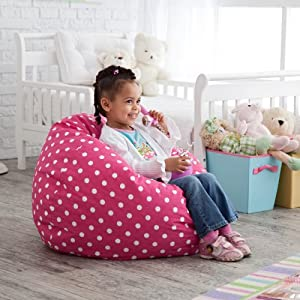 Small Twill Dottie Lounger Bean Bag Chair Color - Pink from Comfort Research