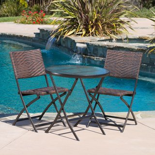 Outdoor 3-piece Wicker Table and Chairs Multibrown Patio Garden Folding Furniture