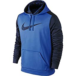 New Nike Men\'s KO Wetland Logo Pullover Hoodie Game Royal/Obsidian Large