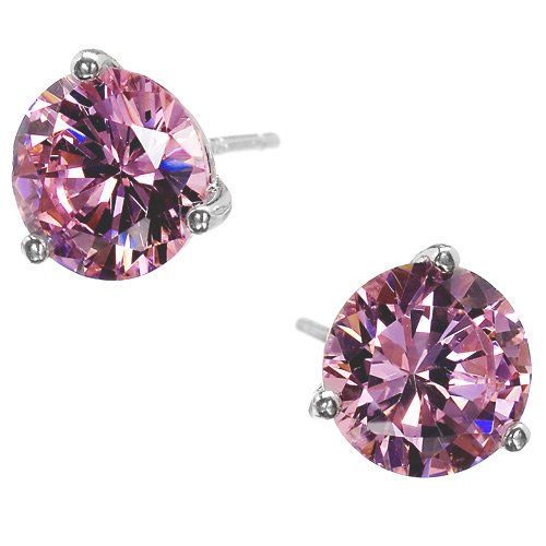 Jesenia's 925 Sterling Silver Stud Earrings Gold Plated 4 Ct. CZ Round Garnet Basket Setting - Incl. ClassicDiamondHouse Free Gift Box & Cleaning Cloth