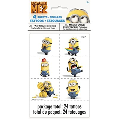 Each sheet contains 6 tattoos on perforated squares, for a total of 24 per package. These fun Despicable Me Temporary Tattoos feature the Minions in different silly poses: with a blowout, doing karate, hugging...BANANAS? Ah yes, those beloved bananas...