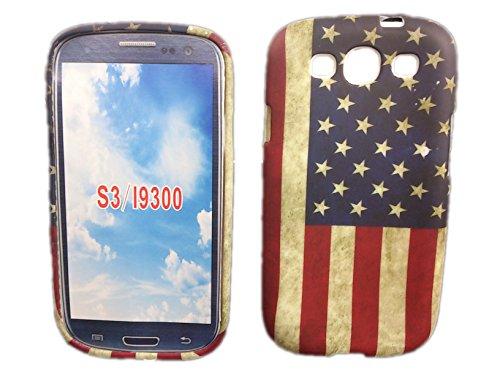 handy-point Robuste Gummihülle Silikonhülle Hülle aus Silikon Gummi Schutzhülle Schale für Samsung Samsung Galaxy S3, S3 Neo mit USA Flagge