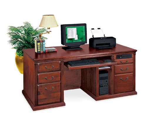Kathy Ireland Home by Martin Furniture Huntington Club Wood Executive Desk in Distressed Cherry
