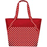 Super Sachi Hot/Cold 50-Can Insulated Cooler Picnic Lunch Bag Polka Dot Red