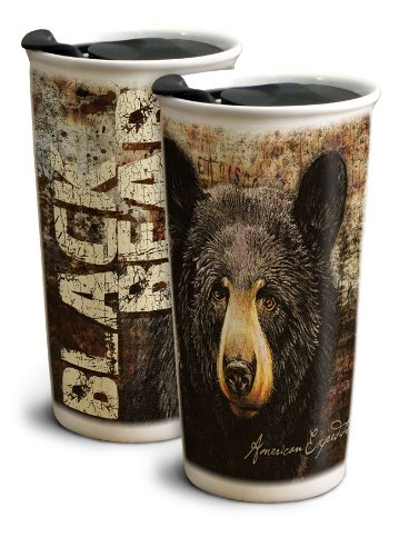 Animal Travel Mugs - Bear Ceramic Travel Mug, 12-Ounce