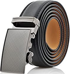 Marino Men's Genuine Leather Ratchet Dress Belt with Automatic Buckle, Enclosed in an Elegant Gift Box - Custom: Up to 46