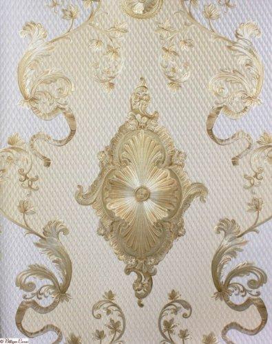 Muster Tapete In Szene Setzen : Tapete Barock: Barock Tapete Hermitage VII Satin 6829-63 creme